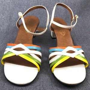Vintage Shoes - Vintage Candy Colored Mod White Chunky Sandals
